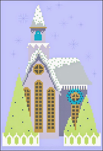 Little Snowy Lavender Churchcross stitch pattern