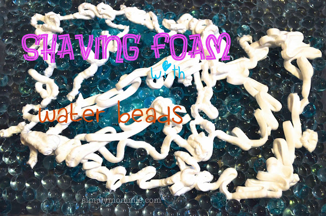 shaving foam water beads sensory play