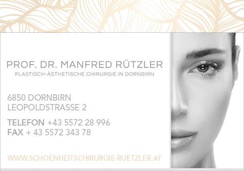 Prof. Dr. Manfred Rützler, Leopoldstraße 2, 6850 Dornbirn, Österreich, Arzt, state Vorarlberg