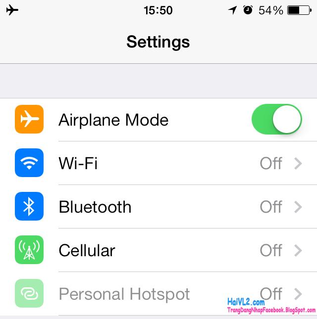 chế độ máy bay tắt sóng iphone