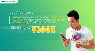 200 phút Ngoại mạng, 60GB Data, Nội mạng tẹt ga Gói V200X Viettel