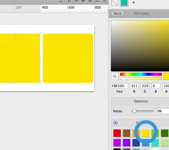 リンクされている要素の色を変更するとリンクしたオブジェクトの色が一気に変更になる。