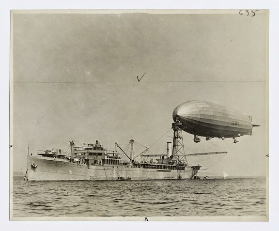 The Shenandoah (or ZR-1) moored to the mast of the airship tender Patoka. c1924.