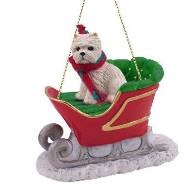 Westie Sleigh Dog Christmas Ornament