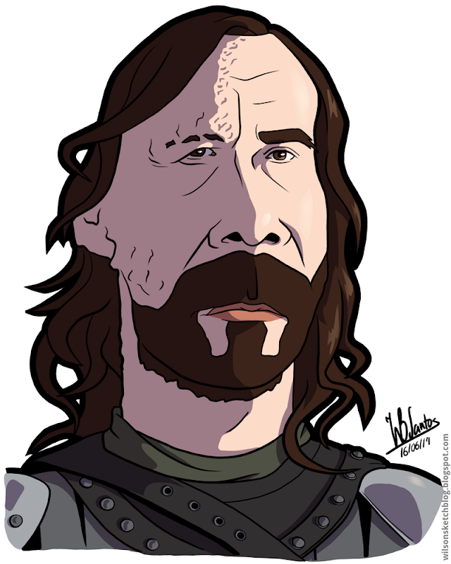 Cartoon caricature of The Hound from Game of Thrones.
