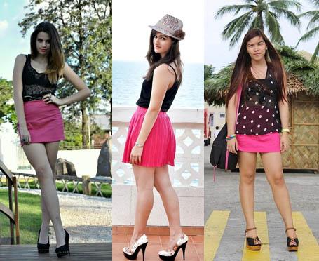 Como usar saia cor de rosa com blusinha preta