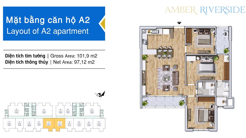 Thiết kế căn hộ A2 dự án Amber Riverside Minh Khai