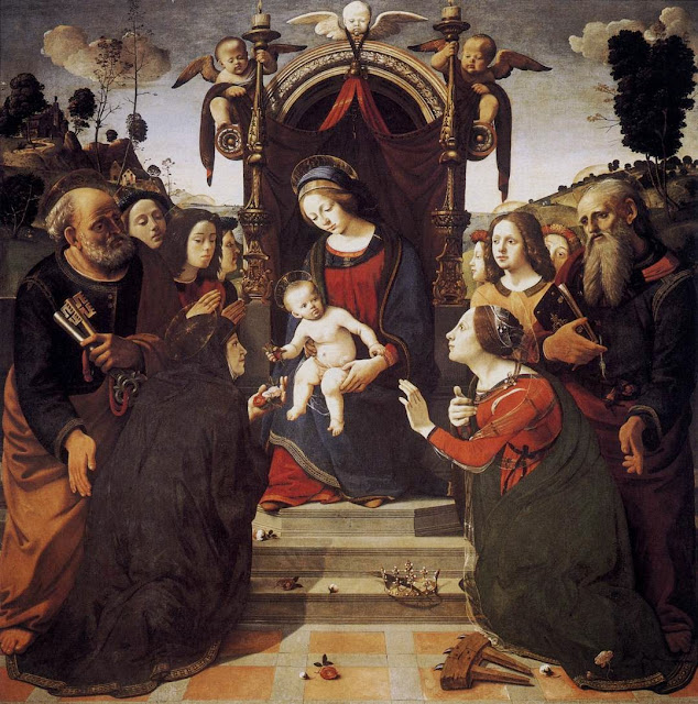 Piero di Cosimo - Virgin and Child Enthroned with Saints