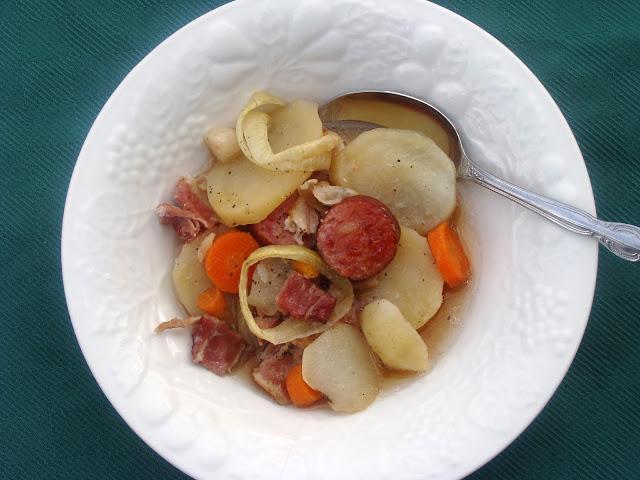 dublin coddle in a white bowl