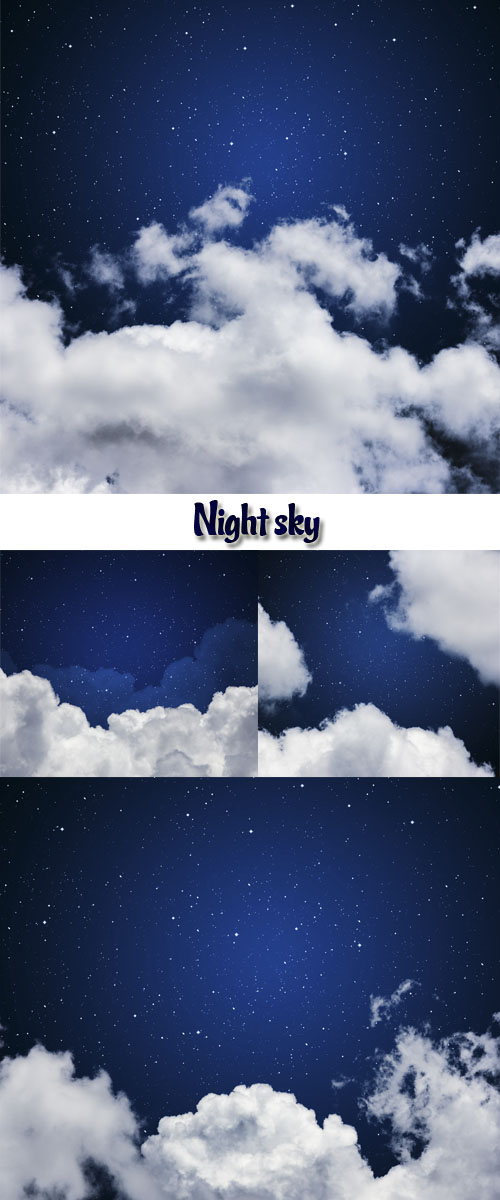 Stock Photo - Blue sky with stars and clouds