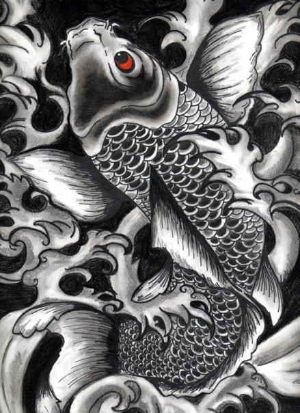 Mis Dibujos Dibujo Lapiz y MicroFibra  Pez Koi