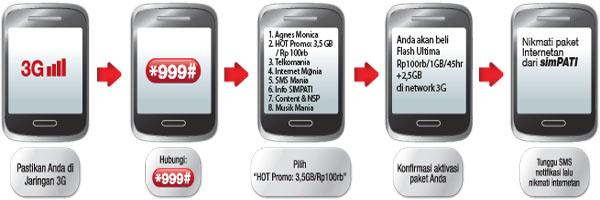 Cara daftar paket internet 3,5GB simPATI