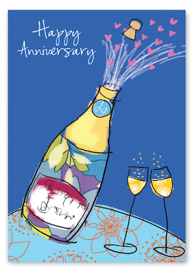 champagne bottle anniversary card