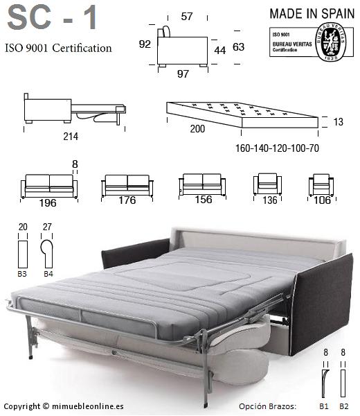 Sof cama sc 1 for Medidas de sofa cama