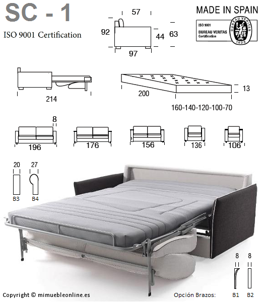 Sof cama sc 1 for Cama full medidas