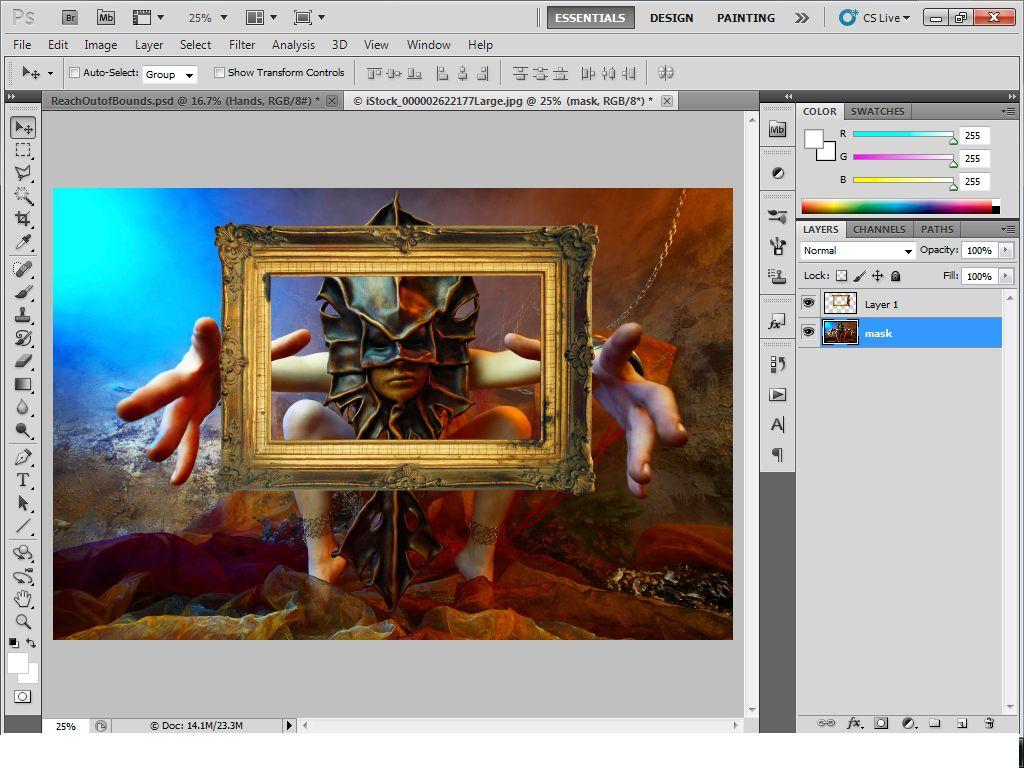 Bước 3: Tạo 1 Layer Mới Bên Dưới Layer Mask Và Đặt Tên Là Background, Tô  Đen Cho Layer Này. Đồng Thới Đổi Tên Layer Khung Hình Thành Frame: