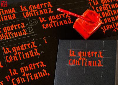 Estudi títol manuscrit La guerra continua