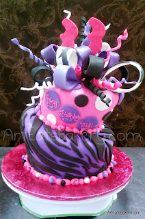 Three tier mad hatter animal print lady's creative custom birthday cake design with edible bow, 33, zebra stripes, polka dots and pearls