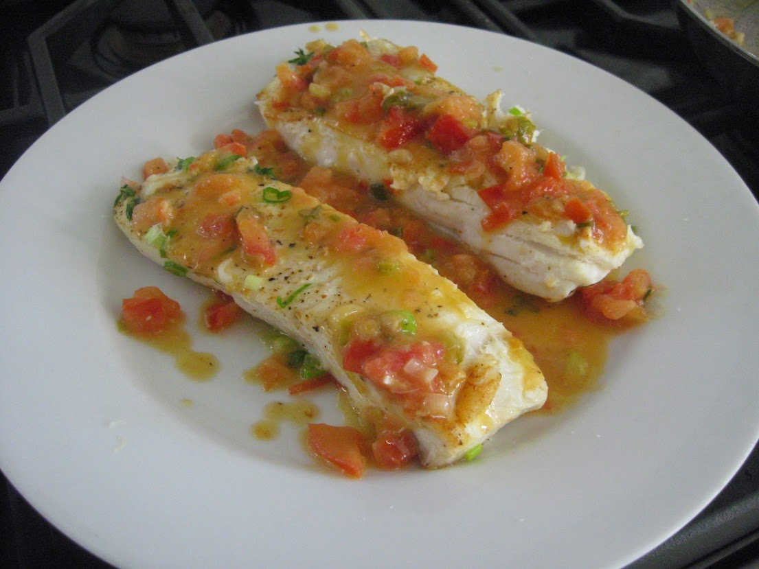 Seared Halibut with Tomatoes, Scallions, and White Wine Sauce