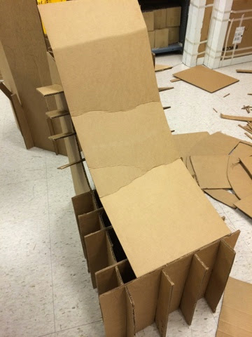 I Created A Cardboard Chair Without Using Any Glue. We Made A Design Using  Slits In The Cardboard To Make It Work. We Made Four Cutouts Of A Chair And  Made ...