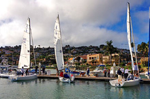 J/70 one-design sailboats- sailing off San Diego YC