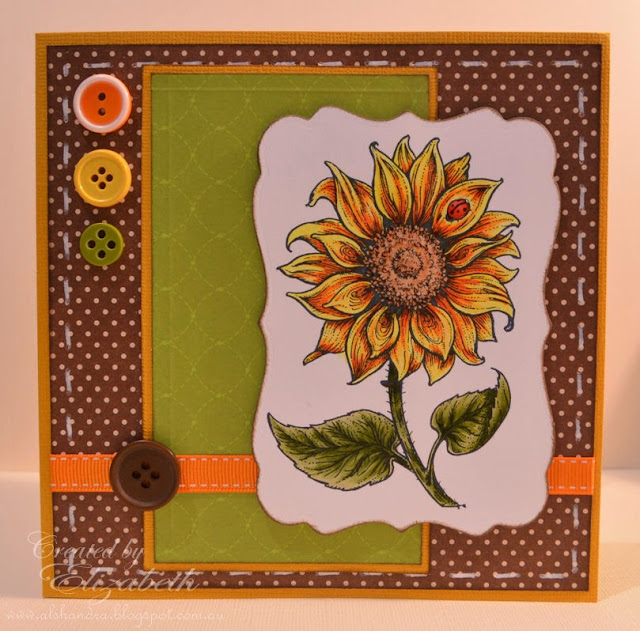 Elizabeth Whisson, handmade card, Flourishes, sunflower, copic