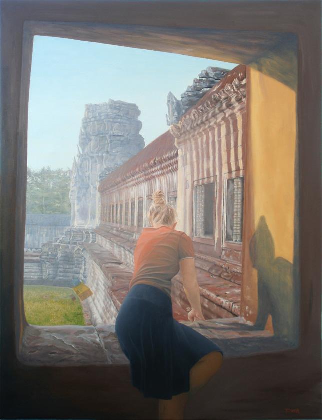 6 a.m. revelación en angkor wat, pintura retrato al oleo de angeles tovar
