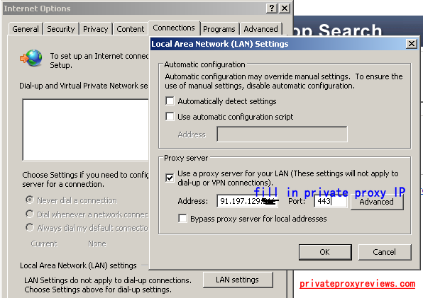 Use Private proxy that no Username/Password needed in Internet Explorer
