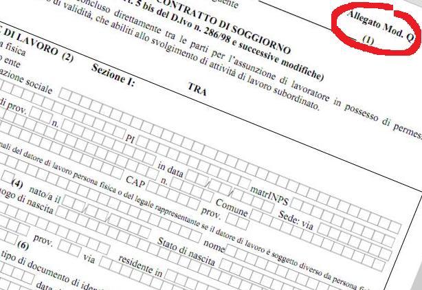 Contratto badanti il modello q serve per il permesso di for Permesso di soggiorno per lavoro subordinato