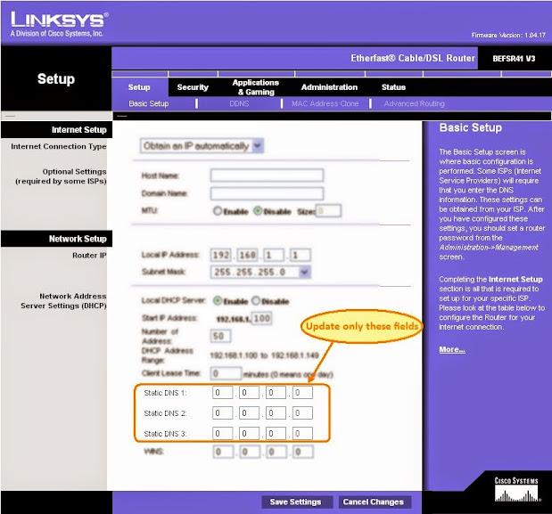 Giao diện cấu hình DHCP của modem LINKSYS (Cissco) bao gồm phần cấu hình DNS Server