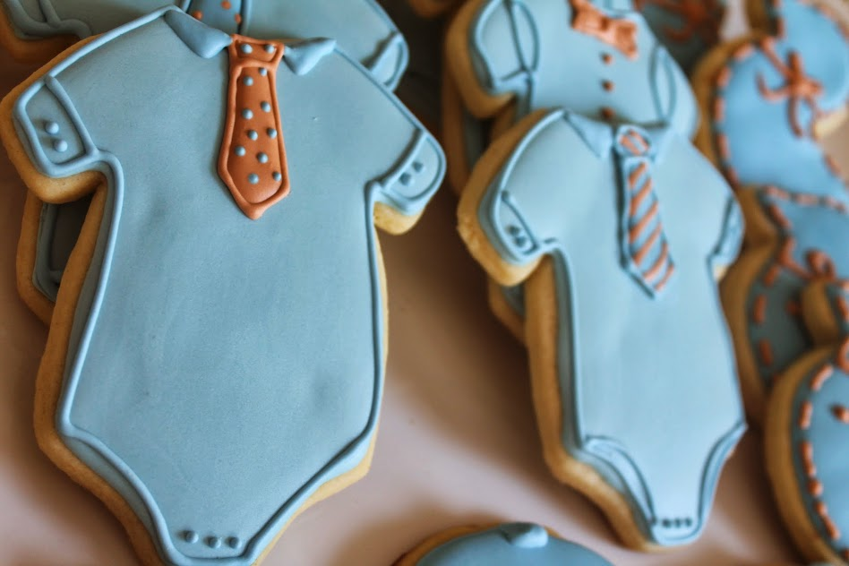 Baby Shower Onesie (with Ties) Cookies