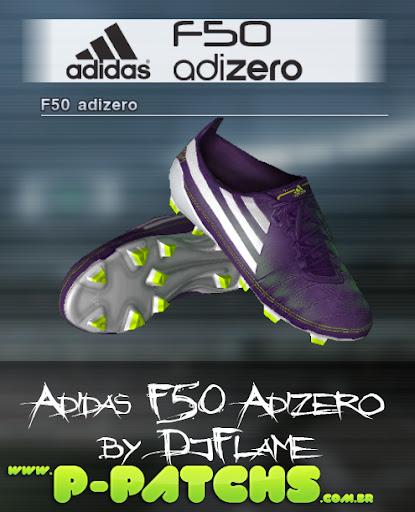 Chuteira Adidas F50 adiZero Purple White Green - PES 2012