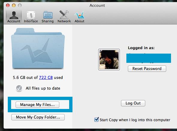 アカウントの「Manage My Files」