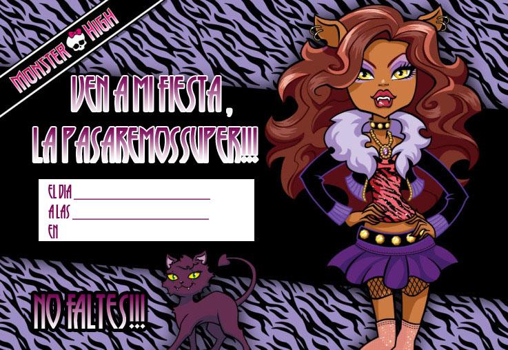 Invitación de las Monster High de Cumpleaños
