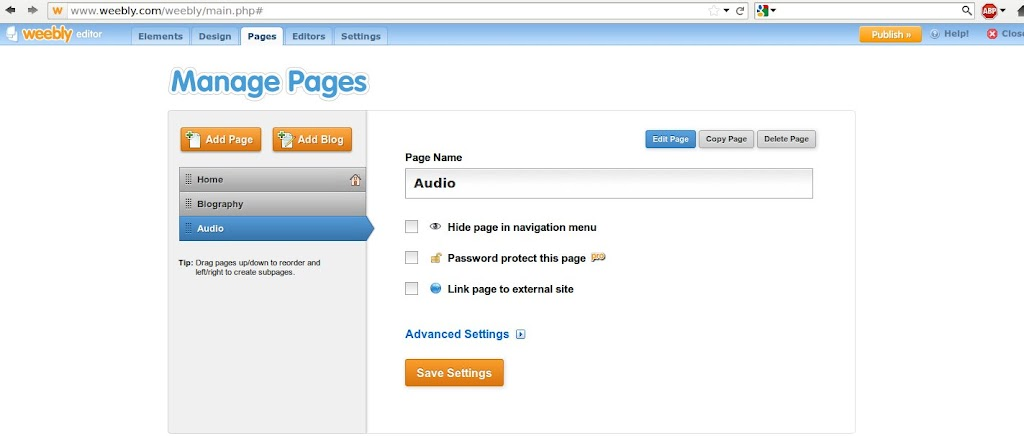 Weebly - manage pages