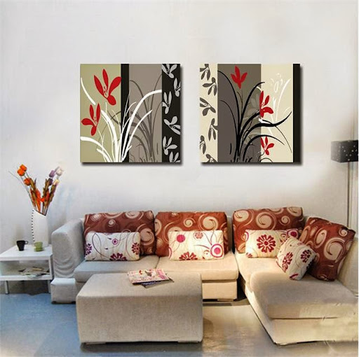 grey background flower wall art Canvas Prints Classical