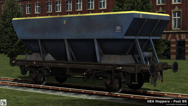 HEA Hoppers - Post BR: What would have been a later built HEA hopper with an offset ladders (now removed) in faded and grubby Mainline livery for Train Simulator 2014