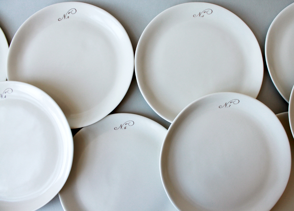 A set of custom 10-inch plates numbered 1-10. & my mamau0027s table: handmade porcelain place settings