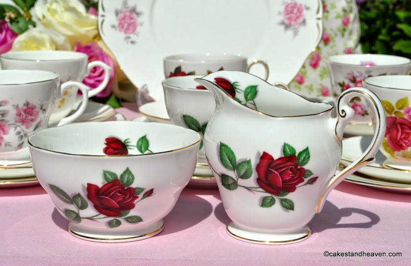 Royal Standard Red Velvet fine bone china vintage milk jug and sugar bowl