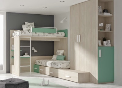 Dormitorio infantil con 3 camas