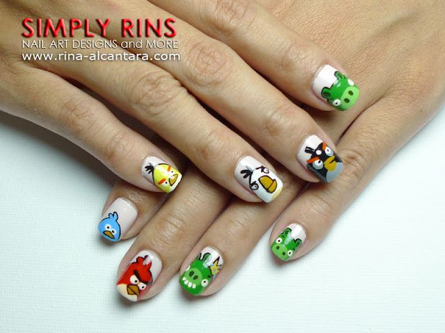 Angry Birds Nail Art Design