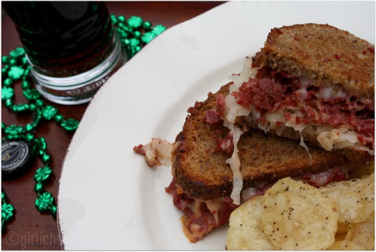 Reuben on No-Knead Whole Grain Rye Bread