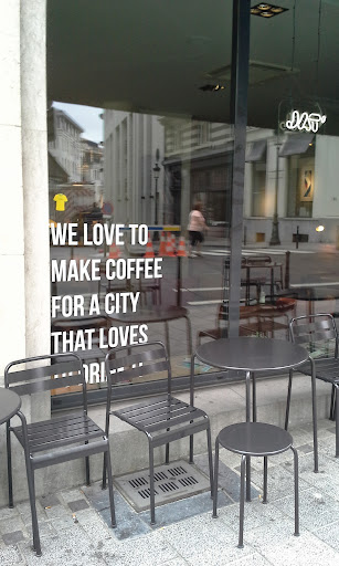 jat coffee shop window Brussels