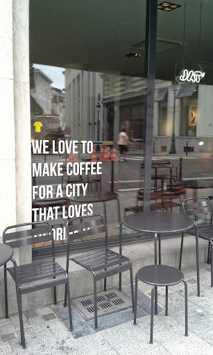 jat coffee shop window Brussels