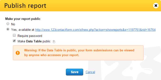 123ContactForm how to make Data Table Report public