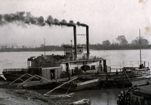 Steamboat at dock, 1863