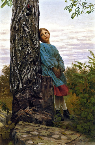 John George Brown - Watching the Woodpecker