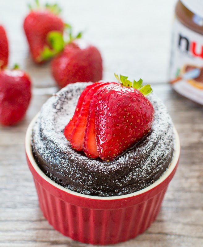 close-up photo of a Flourless Nutella Mug Cake