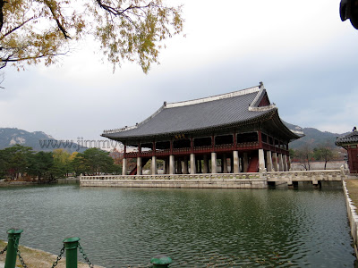 Gyeonghoeru, an open two-story pavilion for royal banquets and entertainment.