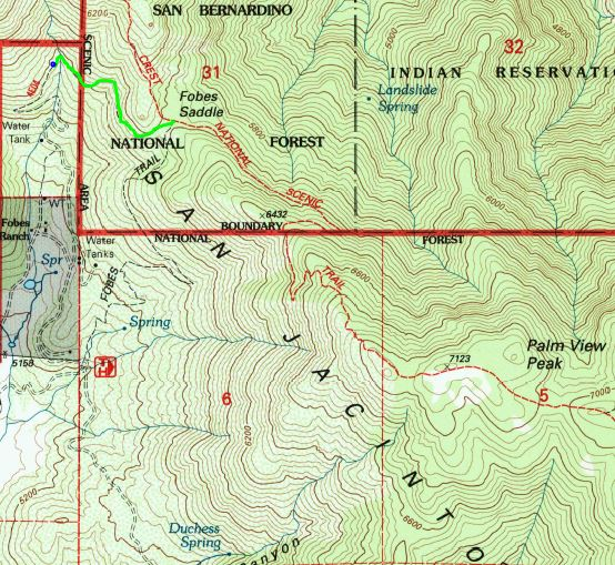 Route to Scovel Creek and spring